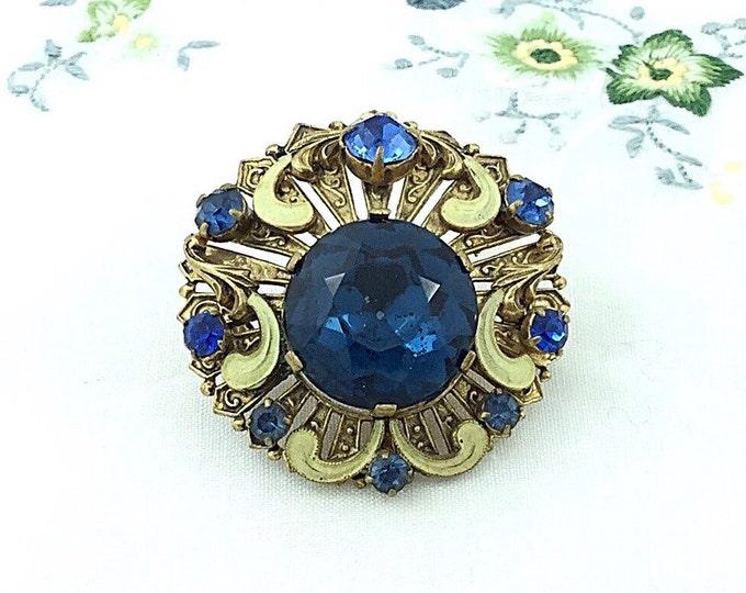 Vintage Dark Blue Glass Austria Brooch. Filigree and Rhinestone Brooch. Austrian. Blue Glass Brooch. Ornate Old Brooch. Sapphire Glass Jewel