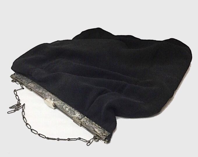 Large Dutch Purse, Silver Square Opening Purse, Antique Linen Cloth Bag Purse, Antique knitting bag, Antique Shoe Bag. Dutch scene. Windmill
