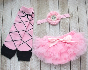 Ballerina Baby Girl Ruffle Bottom Tutu Bloomer, Leg Warmer & Headband Set in Pink - Newborn Photo - Dance - Diaper Cover