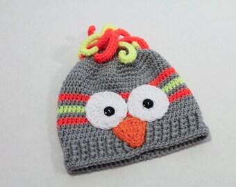 Crochet Hat - Children's Hat - Owl Hat - Grey with Neon Yellow Orange  - 1 to 3 years - Winter Toboggan Hat