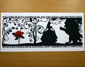 The Beauty of a Beast Signed PaperCut Print • Beauty and the Beast •Fairytale Wall Art • Paper Cut Quote
