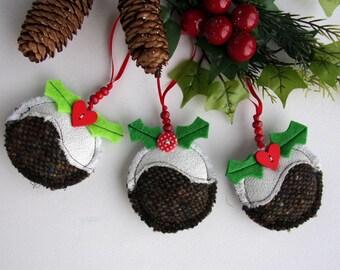 Christmas Pudding Decoration. Shabby Chic Fabric Irish Tweed Christmas Pud Ornaments. Handmade Christmas Tree Decoration. British Christmas
