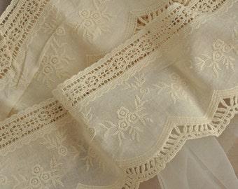 Vintage Style Cotton Lace Trim, Cotton Embroidery Trim Lace 2 yards