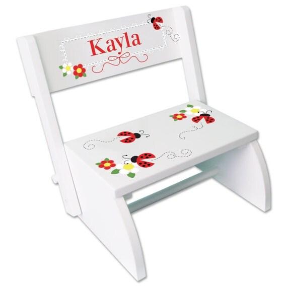 Personalized Ladybug Step Stool Girls White Folding Chair