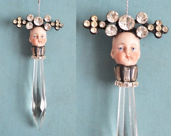 chandelier crystal pixie, doll head ornament, mixed media assemblage art doll, sun catcher, wild child, by Elizabeth Rosen