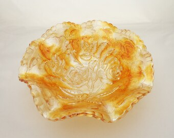 Vintage Imperial Glass Amberina Luster Rose Carnival Bowl, Marigold Ruffled Bowl