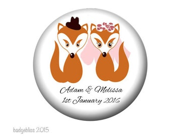 Wedding favor magnets, 20 personalised Mr and Mrs Fox wedding favor magnets