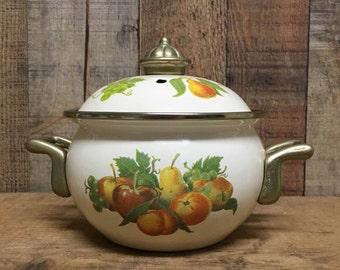 Vintage Potpourri Pot in Brass and Enamel Simmering Pot