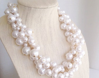 Full Circle Cluster Pearl Necklace Wedding Day Pearls Bridesmaid Gift