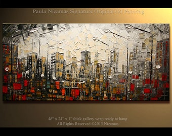 Acrylic and Oil large CityPainting on canvas PALETTE KNIFE original extra heavy texture art ready to hang By Paula Nizamas