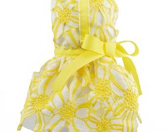 Yellow & White Flower Lace Dog Harness Dress