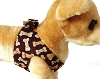 Brown Bone Step In  Dog Harness With Choke Free Design and Double D Ring