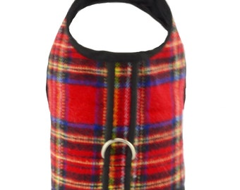Red Tartan Plaid Brushed Cotton Dog Vest Harness