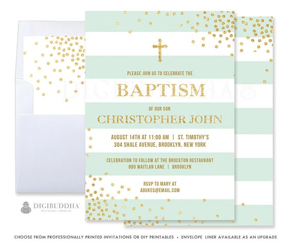 mint baptism invites boy printed baptism invitations printable
