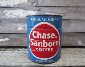 Vintage Tin Coffee Can Chase Sanborn Large 3lb Red Blue Metal Container Storage Display Country Retro Kitchen Rustic Primitive Old Tin Can