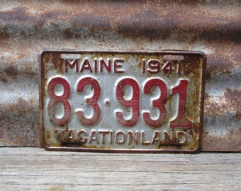 Antique Maine License Plate 1941 Red & Silver Vacationland Aged Patina Metal License Plate Tag Paint Garage Man Cave Rat Rod Car Truck