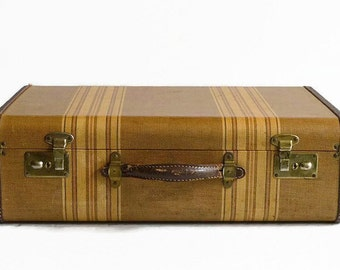vintage gold striped tweed leather suitcase 1940s luggage