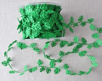 Cheese plant leaf trim, tropical trim, monstera cut out, 1m (1.1yd)