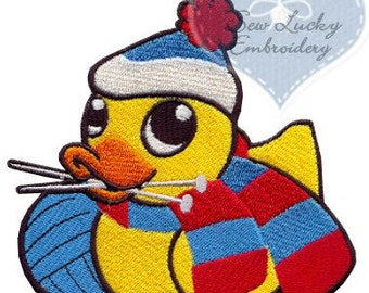 Knitting Duckie Applique  Embroidered Patch , Sew or Iron on