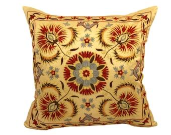 Handmade Suzani Silk Pillow Cover EMP905, Suzani Pillow, Uzbek Suzani, Suzani Throw, Suzani, Decorative pillows, Accent pillows