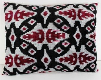 Silk Velvet Ikat Pillow Cover Lp311, Bohemian pillow, Velvet Ikat Pillow, Velvet Pillow