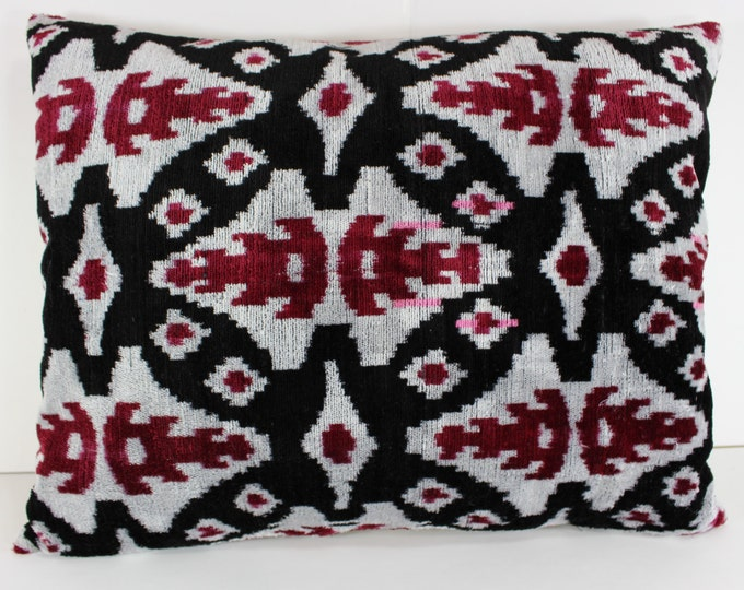 Silk Velvet Ikat Pillow Cover Lp311, Bohemian pillow, Velvet Ikat Pillow, Velvet Pillow