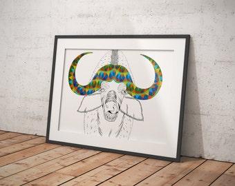 Buffalo Print | animal illustration | pattern illustration | african animals | african art | animal print