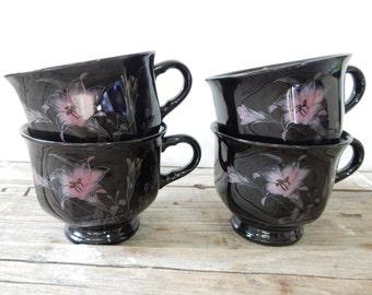 Mikasa cups, Ebony Meadow pattern, Black Teacup, pink lily, Japan, set of 4