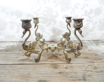 Silver plate Swan Candelabra, candle holder, heavy, EP Zinc