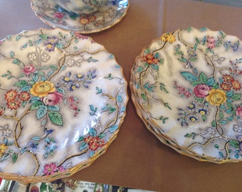 """Copeland Spode Salad or Bread and Butter 7"""" Plate, Patricia pattern, Yellow Rimmed, 6 available"""