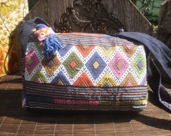 Hand Made Messenger Bag, Hand Woven Textile Bag,Handmade Up cycled Messenger Bag, Textile  Shoulder Bag