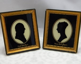 Vintage Silhouette Pair Reverse Painted Tallimit Art Sally Barr Capt John Barr