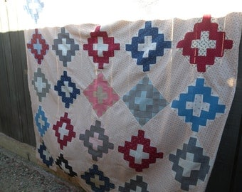 Vintage ~ Handmade and Hand Pieced TOGETHER  Cotton Quilt Cover Ready to Make into a BEAUTIFUL Quilt