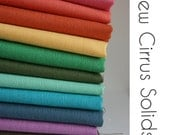 Organic Cotton Fabric Cirrus Solids - One YARD  BUNDLE -  from Cloud 9 Fabrics