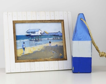 "Beach Decor Set ""Pier"" Oil Painting and Buoy by B. Kravchenko for SEASTYLE"