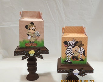 Mickey & Minnie Mouse Safari Inspired Treat/Favor Boxes (set of 8)