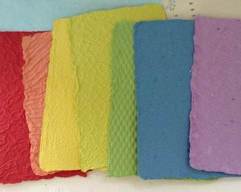 Paper Made by Hand - Recycled Paper - Handmade paper - rainbow - textured paper - deckle edges - artist gift - handmade recycled
