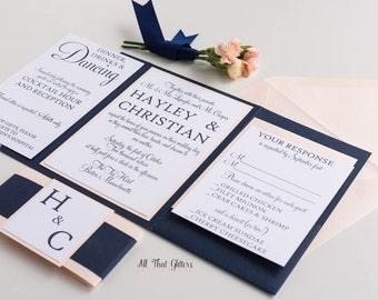 Fancy wedding invitation, navy wedding invite, gold wedding invitation, coral wedding invitations, blush invitations, Hayley