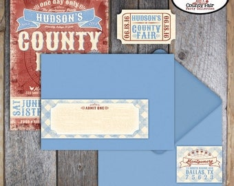 County Fair Invitation - County Fair Birthday Party - Invitation & Address Labels - Printable (Carnival, Country Fair, Ferris Wheel, Ribbon)