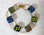 Dichroic Fused Glass Bracelet , Fused Glass Jewelry, Patterned, 7 inches