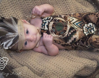 Aztec Indian Upcycled Romper and Head piece, PHoto Prop, Indian Photo Prop