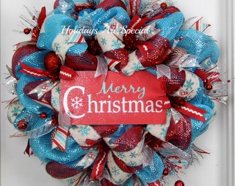 Mesh Wreath Christmas, Christmas Wreath, Merry Christmas Wreath, Door Hanger, Blue and Red Christmas Wreath, Retro