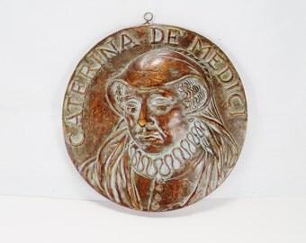 "Caterina De' Medici Ceramic Plaque / Plate  A.2218./B,  7 1/4"" Round, Bronze Tone"