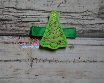 Christmas-Holiday Baby Girl Felt Hair Clip - Hair Accessories - Boutique Embroidered Felt Christmas Tree Clippie-No Slip Grip