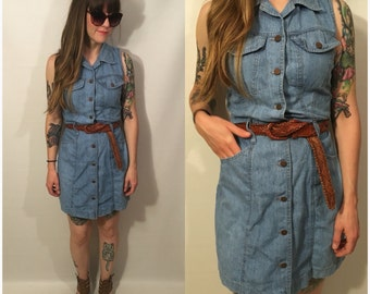 Vinage 90s Blue Jean Denim Dress Button Up Sleeveless Size Small