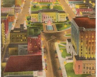 Linen Postcard, Oklahoma City, Oklahoma, Civic Center View at Night, 1948