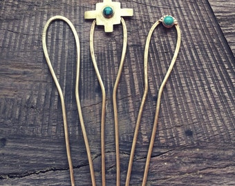 Hair Fork // Hair Pin // Gold Hair Fork // Boho Chic // Hairpin // Top Knot // Boho Hair