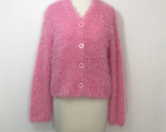 90's Pink Fuzzy Sweater Clueless Eyelash Knit Raver Sparkle Bubblegum Cardigan M L