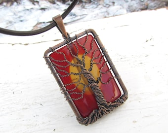 Agate Tree of Life Pendant Rectangular Copper Wire Wrapped Necklace