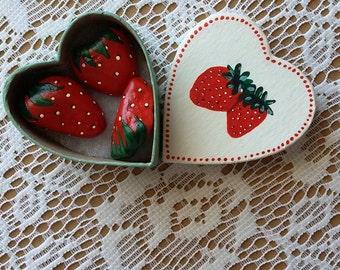 PAINTED STRAWBERRY ROCKS & Matching Painted Paper Mache, Heart Shaped Gift Box - Cute Keepsake Gift Idea, Little Girl Gift